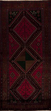 "Mussel Red Runner Hand Knotted 4'11"" X 10'9""  Area Rug 251-12807"