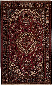 Persian Mussel Red Rectangle 5x8 ft Wool Carpet 12818