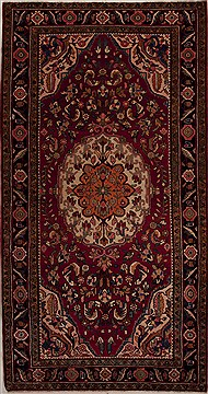 "Mussel Red Runner Hand Knotted 5'5"" X 10'2""  Area Rug 251-12822"