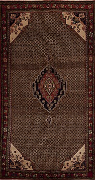 Persian Hamedan Brown Runner 10 to 12 ft Wool Carpet 12825