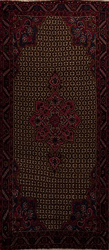 "Mussel Brown Runner Hand Knotted 4'8"" X 11'0""  Area Rug 251-12826"