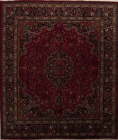 "Khorasan Red Square Hand Knotted 9'6"" X 11'2""  Area Rug 251-12862"