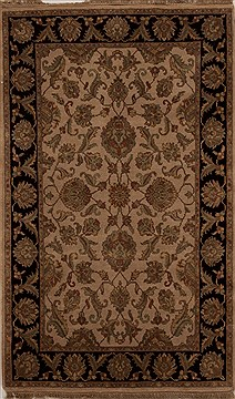 Indian Agra Beige Rectangle 4x6 ft Wool Carpet 12881