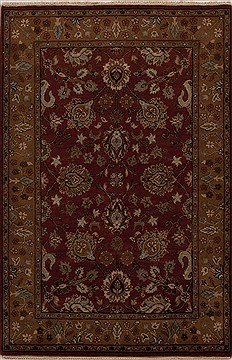 Indian Agra Red Rectangle 4x6 ft Wool Carpet 12893