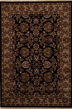 Indian Agra Black Rectangle 4x6 ft Wool Carpet 12897