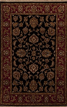 Indian Agra Black Rectangle 4x6 ft Wool Carpet 12902