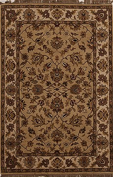 Indian Agra Beige Rectangle 4x6 ft Wool Carpet 12903