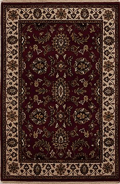 Indian Agra Red Rectangle 4x6 ft Wool Carpet 12906