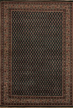 Indian Hamedan Green Rectangle 4x6 ft Wool Carpet 12909