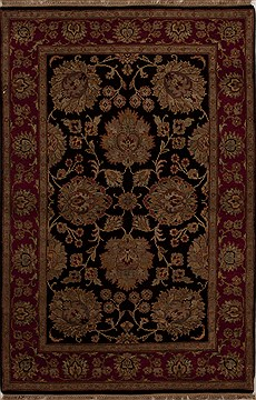 "Agra Black Hand Knotted 4'0"" X 6'1""  Area Rug 251-12911"
