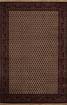 Indian Agra Red Rectangle 4x6 ft Wool Carpet 12913