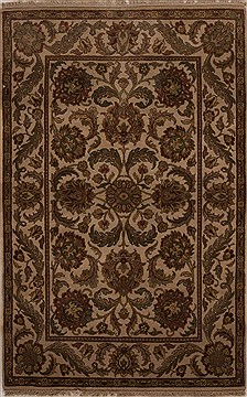 Indian Agra Beige Rectangle 4x6 ft Wool Carpet 12914