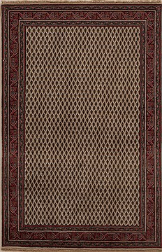 Indian Hamedan Beige Rectangle 4x6 ft Wool Carpet 12915