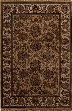 Indian Agra Beige Rectangle 4x6 ft Wool Carpet 12918