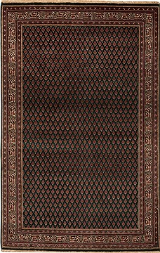 Indian Hamedan Green Rectangle 4x6 ft Wool Carpet 12919