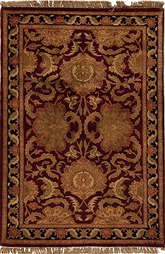 Afghan Agra Red Rectangle 4x6 ft Wool Carpet 12923