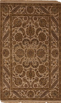 Indian Agra Beige Rectangle 4x6 ft Wool Carpet 12925