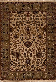 Indian Agra Beige Rectangle 4x6 ft Wool Carpet 12926