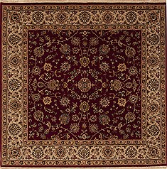 "Agra Red Square Hand Knotted 6'0"" X 6'0""  Area Rug 251-12932"