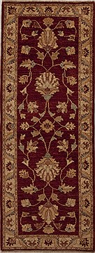 Pakistani Chobi Red Runner 6 ft and Smaller Wool Carpet 12955