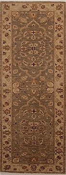 Pakistani Chobi Brown Runner 6 to 9 ft Wool Carpet 12968