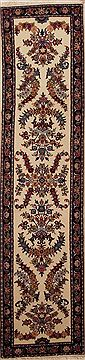 Persian Mashad Beige Runner 10 to 12 ft Wool Carpet 12973