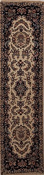 Persian Mashad Beige Runner 6 to 9 ft Wool Carpet 12981