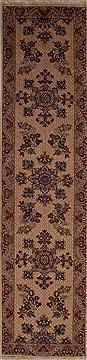 Persian Mashad Beige Runner 10 to 12 ft Wool Carpet 12982