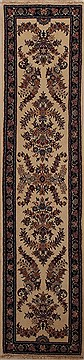 Persian Mashad Beige Runner 10 to 12 ft Wool Carpet 12996