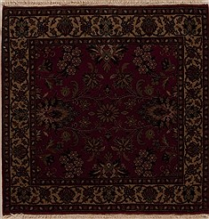 Indian Kashmir Red Square 4 ft and Smaller Wool Carpet 12998