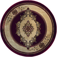 "United Weavers Bristol Red Round 7'10"" X 7'10"" Area Rug 20501053488R 806-123718"