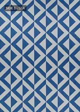 "Couristan OUTDURABLE Blue Runner 2'3"" X 11'9"" Area Rug R206SEDN023119U 807-129149"