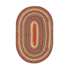 "Homespice Cotton Braided Rug Brown Oval 2'3"" X 3'9"" Area Rug 400246 816-129883"
