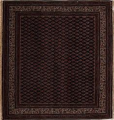 Indian Hamedan Blue Square 4 ft and Smaller Wool Carpet 13007