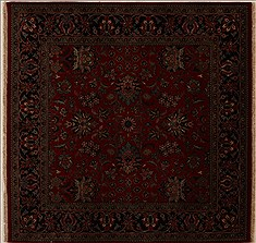 Indian Kashmir Red Square 5 to 6 ft Wool Carpet 13026