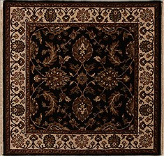 "Agra Black Square Hand Knotted 4'11"" X 5'0""  Area Rug 251-13036"