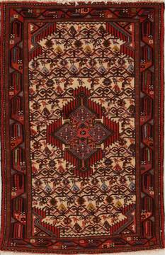 Persian Hamedan Beige Rectangle 3x5 ft Wool Carpet 13050