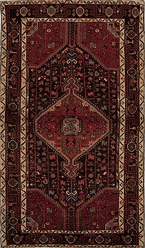 Persian Hamedan Red Rectangle 5x8 ft Wool Carpet 13114