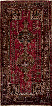 "Mussel Red Runner Hand Knotted 4'10"" X 10'0""  Area Rug 251-13130"