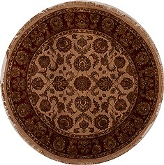 "Agra Beige Round Hand Knotted 6'0"" X 6'2""  Area Rug 251-13180"