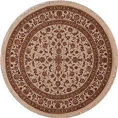 Chinese Sino-Persian Beige Round 5 to 6 ft Wool Carpet 13192