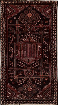 Persian Hamedan Red Rectangle 3x5 ft Wool Carpet 13196