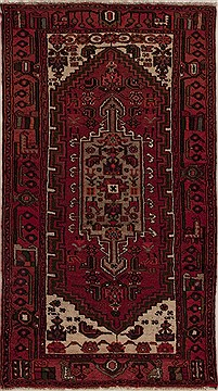 Persian Hamedan Red Rectangle 3x5 ft Wool Carpet 13214