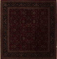 Indian Kashmir Red Square 9 ft and Larger Wool Carpet 13253