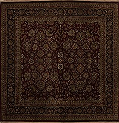 Indian Kashmir Red Square 9 ft and Larger Wool Carpet 13257