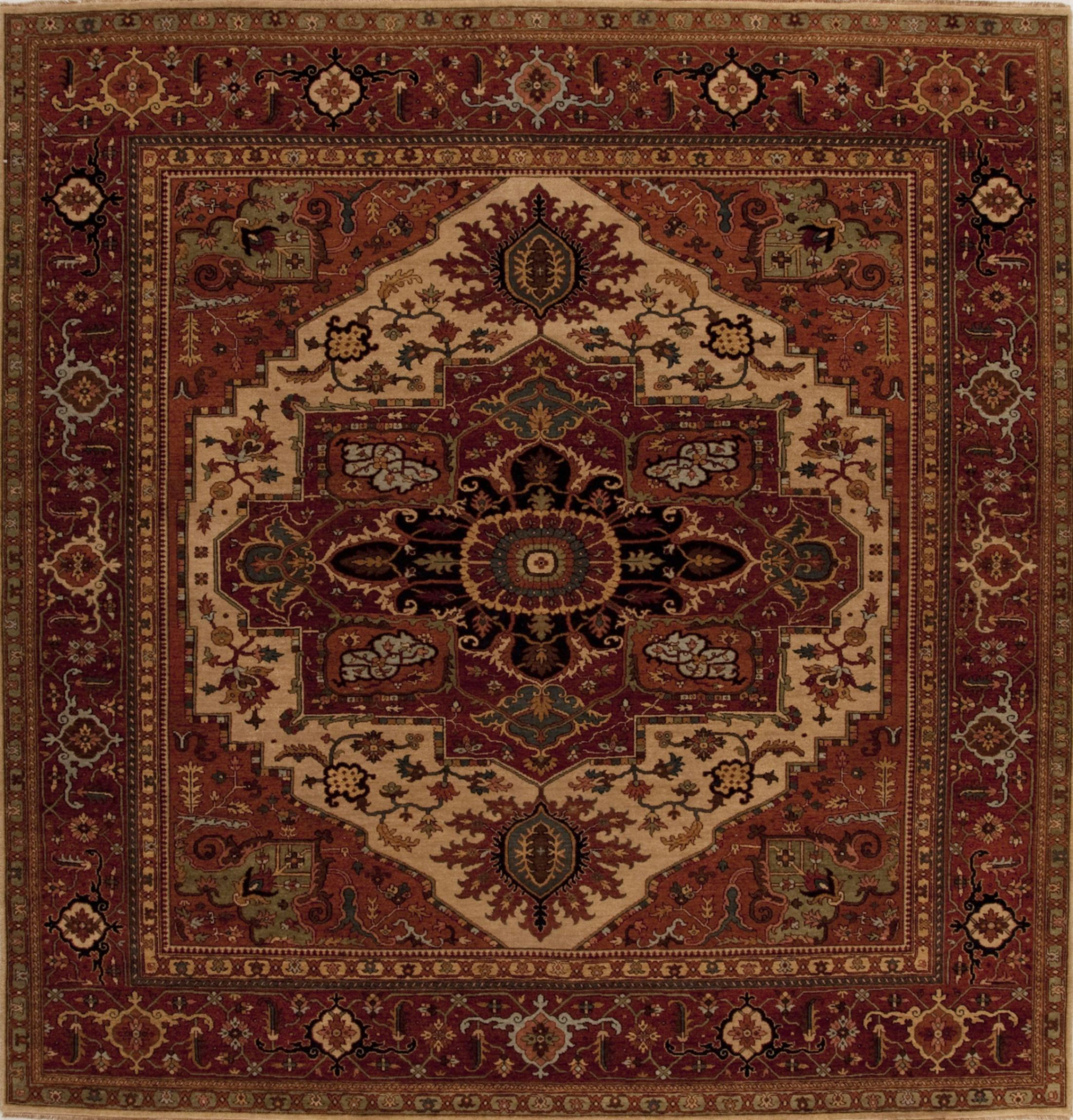 Indian Serapi Beige Square 9 Ft And