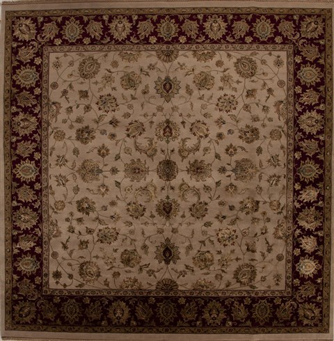 Indian Kashmir Beige Square 9 Ft And Larger Wool Carpet