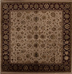 Indian Kashmir Beige Square 9 ft and Larger Wool Carpet 13300