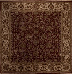 "Agra Red Square Hand Knotted 10'0"" X 10'0""  Area Rug 251-13316"