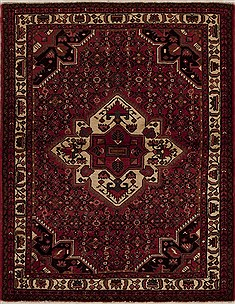 Persian Hamedan Red Rectangle 5x7 ft Wool Carpet 13324